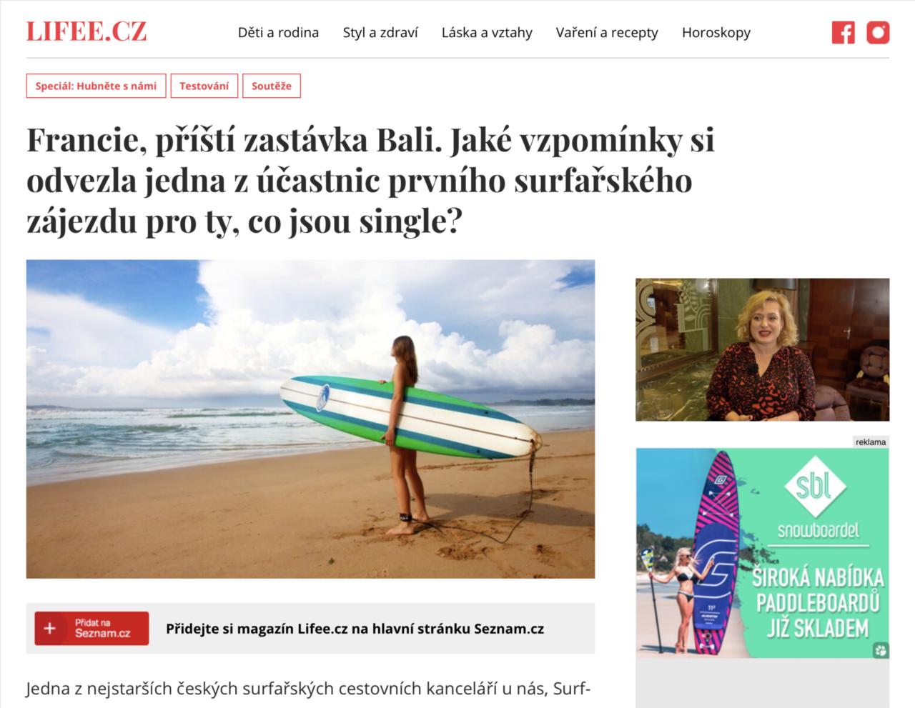 Lifee.cz článek o surfovém zájezdu single fin