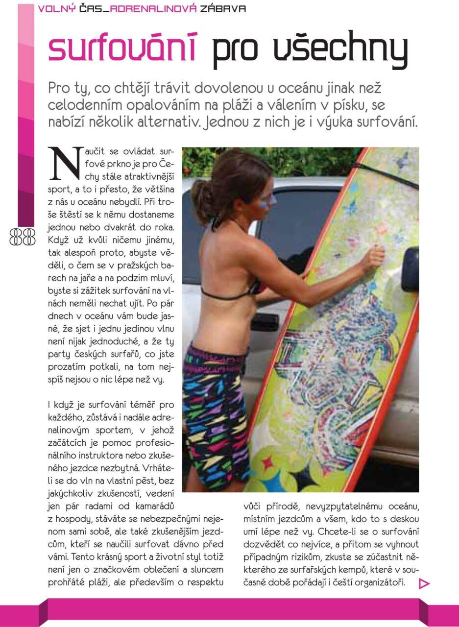 Článek o surfování časopis PRAGMOON 2011